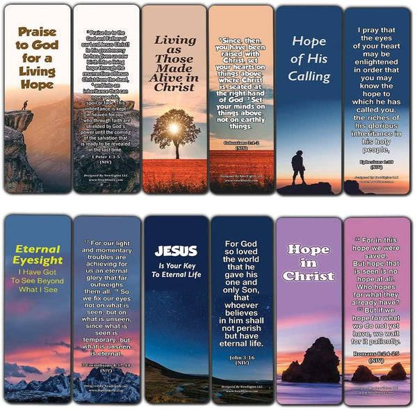 Hope Bible Verses Bookmarks (60 Pack) - Perfect Giveaways for Sunday School and Ministries Designed to Inspire Women and Men