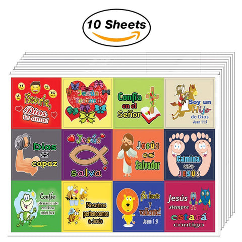 Spanish Smile God Loves You Stickers (10 Sheets) - Sunday School Giveaways for Kids and Children