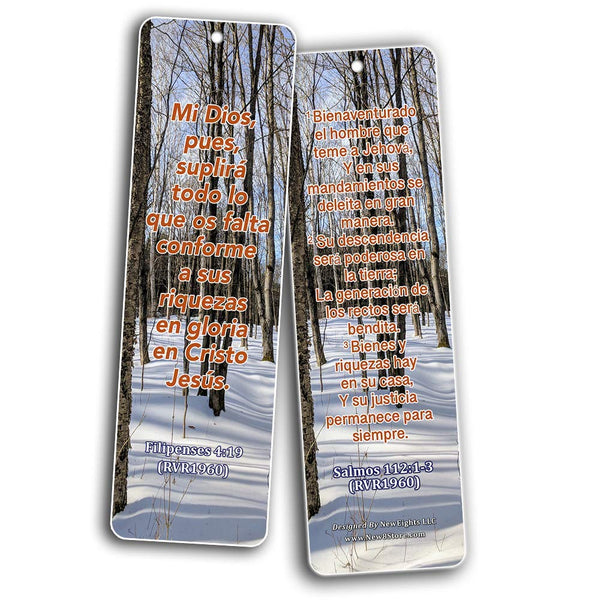 Spanish Religious Bookmarks - Bible Verses About Financial Blessings