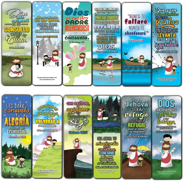 Spanish God's Comfort Christian Living Bookmarks (12-Pack) - VBS Sunday School Easter Baptism Thanksgiving Christmas Rewards Encouragement Gift