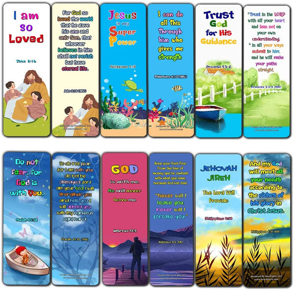 Christian Bookmarks for Kids - Life Changing (60 Pack) - Perfect Gift away for Sunday School and Ministries - Christian Stocking Stuffers Birthday Assorted Bulk Pack