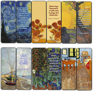 Spanish Wonderful Magnificent God Bible Verses Bookmarks (30 Pack) - Van Gogh Inspirational Christian Stocking Stuffers Gift for Men Women Teens Kids Art Lover Church Supplies