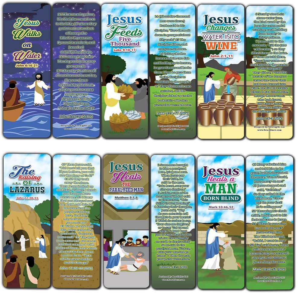 Miracles of Jesus Bible Bookmarks Cards (60-Pack) - Church Memory Verse Sunday School Rewards - Christian Stocking Stuffers Birthday Party Favors Assorted Bulk Pack