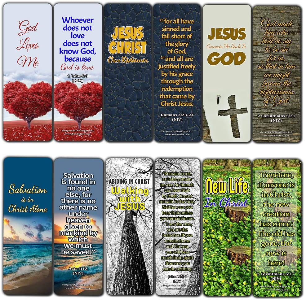 Jesus Our Redeemer Scriptures Bookmarks (60 Pack) - Perfect Giveaways for Sunday School and Ministries