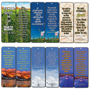 Bible Bookmarks Cards (60-Pack) - Giving and Generosity Holy Scriptures - Be A Blessing to Others and Let People know God through You - Christian Encouragement Gifts for Men Women Teens Children