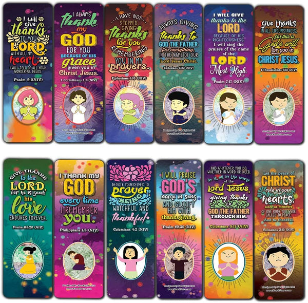 Thank You Lord Bible Verse Bookmarks (60-Pack) - Church Memory Verse Sunday School Rewards - Christian Stocking Stuffers Birthday Party Favors Assorted Bulk Pack