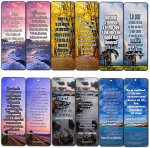 Spanish Christian Bible Verses Bookmarks - Release Stress and Anxiety (12-Pack)- Religious Christian Inspirational Gifts to Encourage Men Women Boys Girls - Bible Study Sunday School War Room Decor
