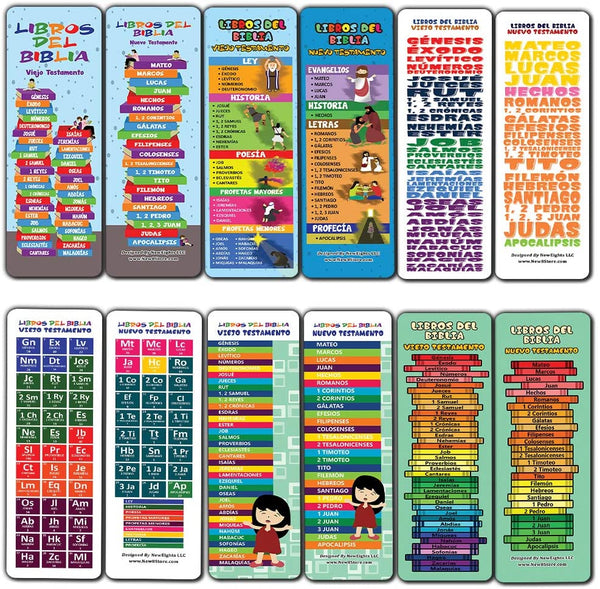 Spanish Books Of The Bible Bookmarks for Kids (60-Pack) - Church Memory Verse Sunday School Rewards - Christian Stocking Stuffers Birthday Party Favors Assorted Bulk Pack