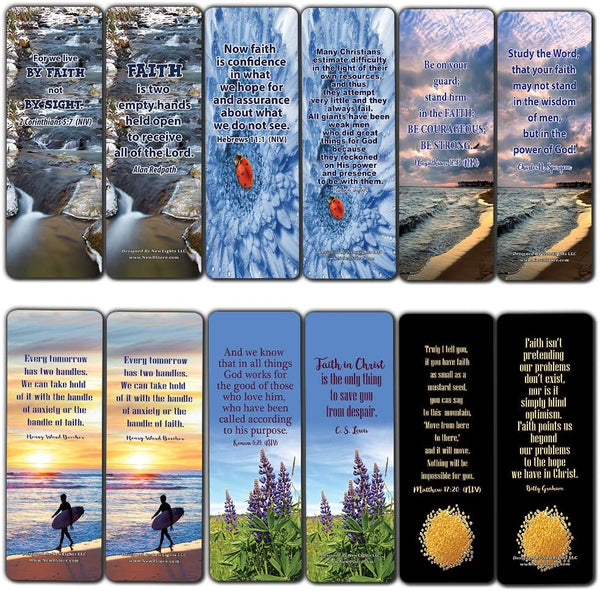 Faith Scriptures Cards Bookmarks (30-Pack) - Christian Stocking Stuffers Birthday Assorted Bulk Pack - Church Memory Verse Sunday School Rewards