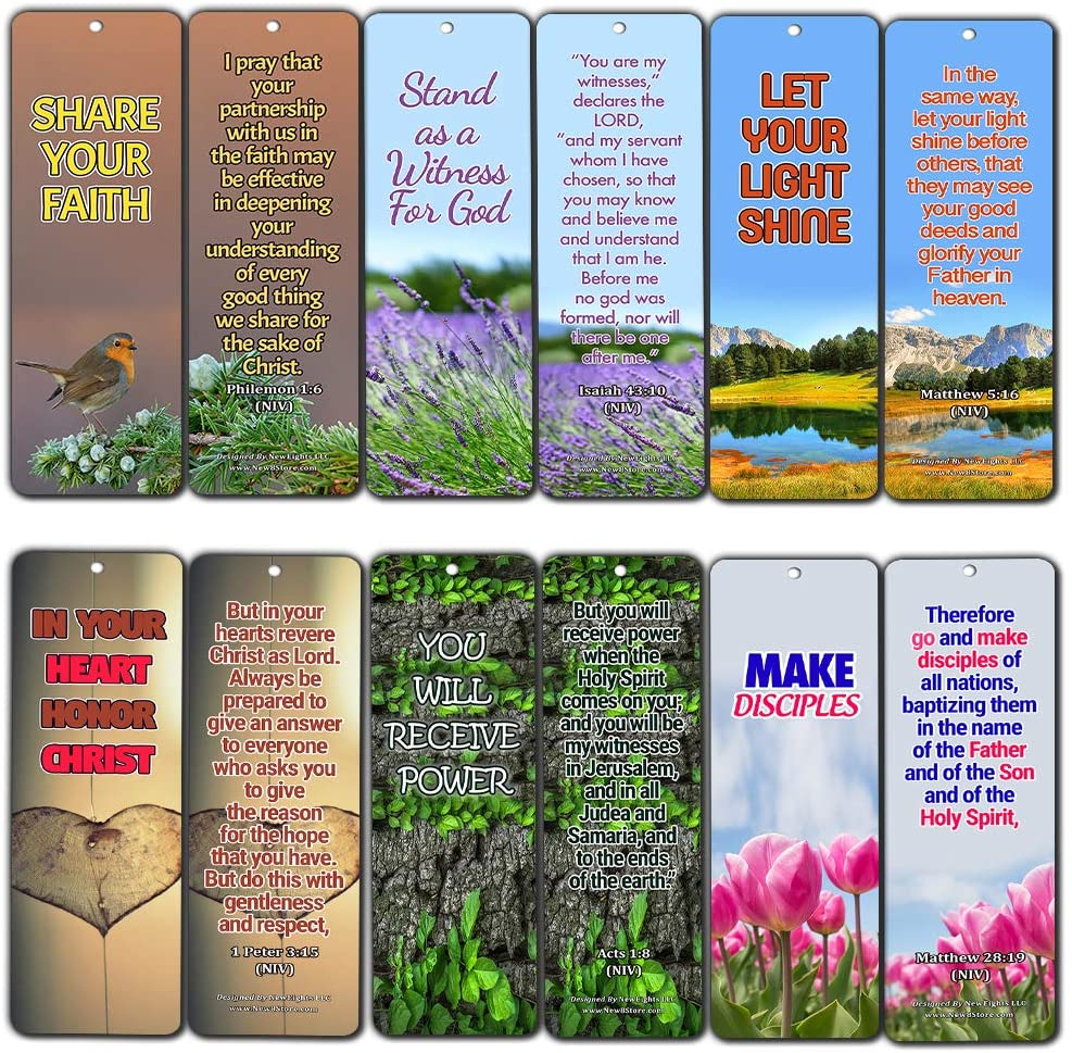 Bible Verses About Become A Witness for Christ (60 Pack) - Perfect Giveaways for Sunday School and Ministries