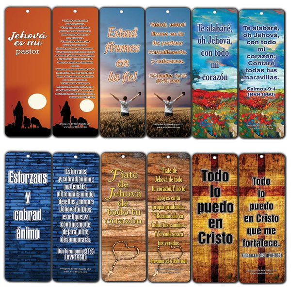 Spanish Popular Bible Verses Be Strong and Courageous Bookmarks