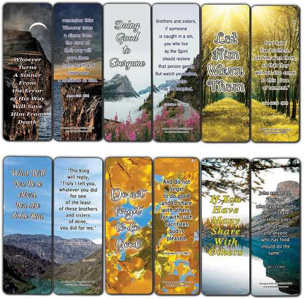 We Make a Difference in Others Memory Verses Bookmarks (60-Pack) - Perfect Giftaway for Sunday School and Ministries