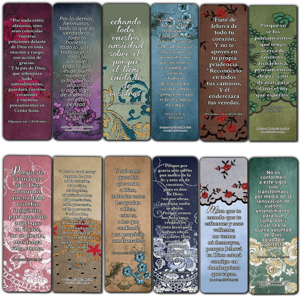 Spanish Vintage Favorite Scriptures Bookmarks for Women (30-Pack) - Variety Handy Spanish Scriptures