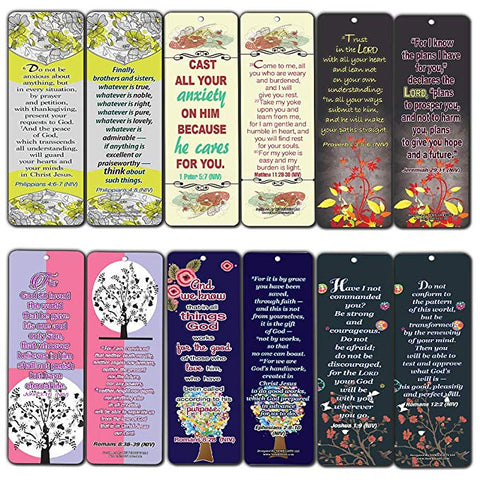 Floral Theme Memory Bible Verses Bookmarks