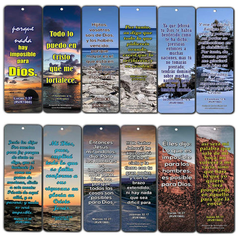 Spanish Religious Bible Quotes Bookmarks for Doing The Impossible (RVR1960)