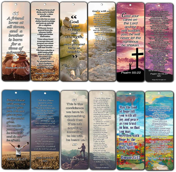 Christian Bookmarks Cards with Popular Inspirational Bible Verses - 6 Unique Designs (Pack of 12)