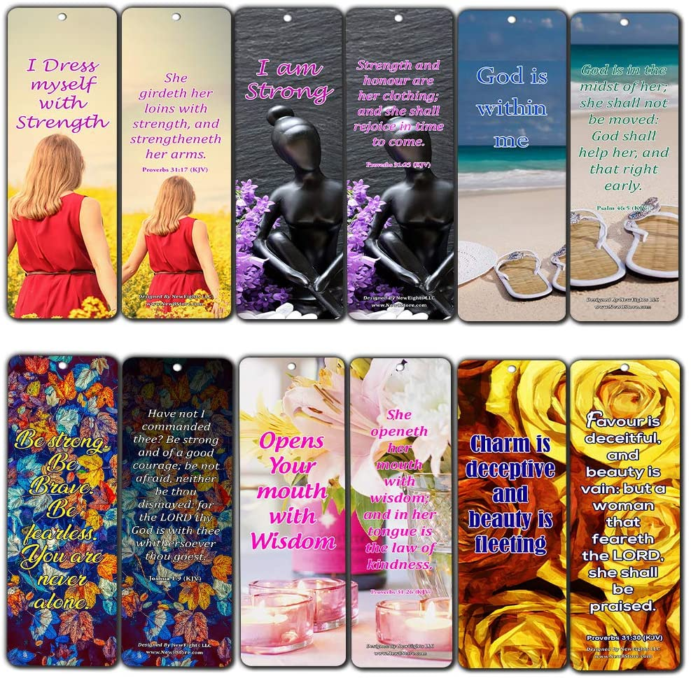 Feminine Strength Scripture Bookmarks (30 Pack) - Handy Life Changing Bible Texts and Quotes That Are Very Uplifting Perfect for Daily Devotional for Women