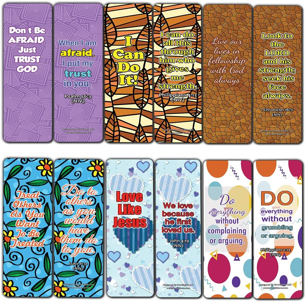 Devotional Bible Verses for Kids Bookmarks (60 Pack) - Perfect Giveaways for Sunday School and Ministries Designed to Encourage and Motivate Children