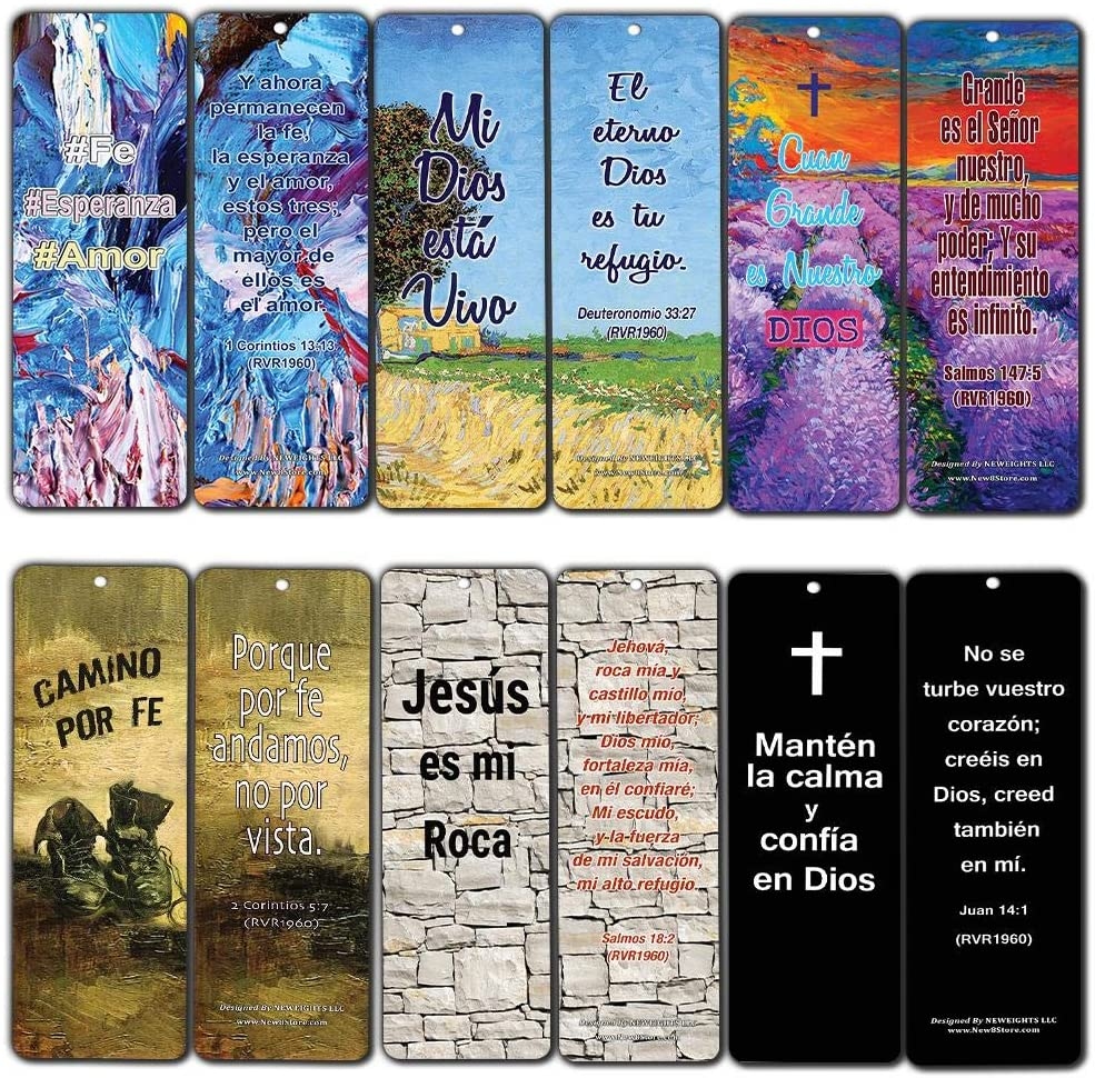 Spanish Favorite Bible Verses Bookmarks (12-Pack) - Popular Inspirational Bible Verses Perfect For Ministries and Giveaways