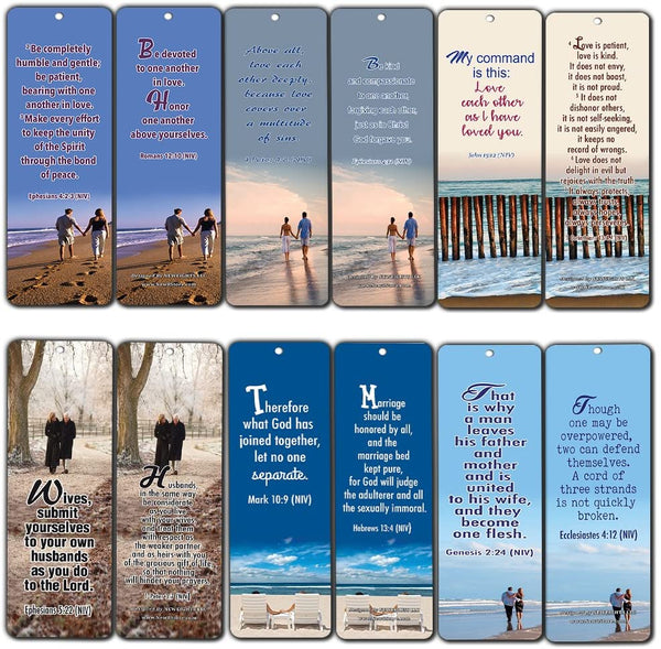 Bible Verses About Marriage Bookmarks Cards (30-Pack)- Religious Scriptures for Successful Marriage Relationship - Wedding Anniversary Husband and Wife Gifts