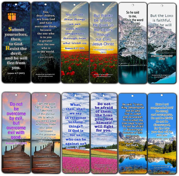 Overcome Life's Battle and Spiritual Warfare Bible Verses Bookmarks (30 Pack) - Spiritual Warfare Scriptures to Read, Pray, and Memorize