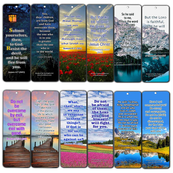 Overcome Life's Battle and Spiritual Warfare Bible Verses Bookmarks