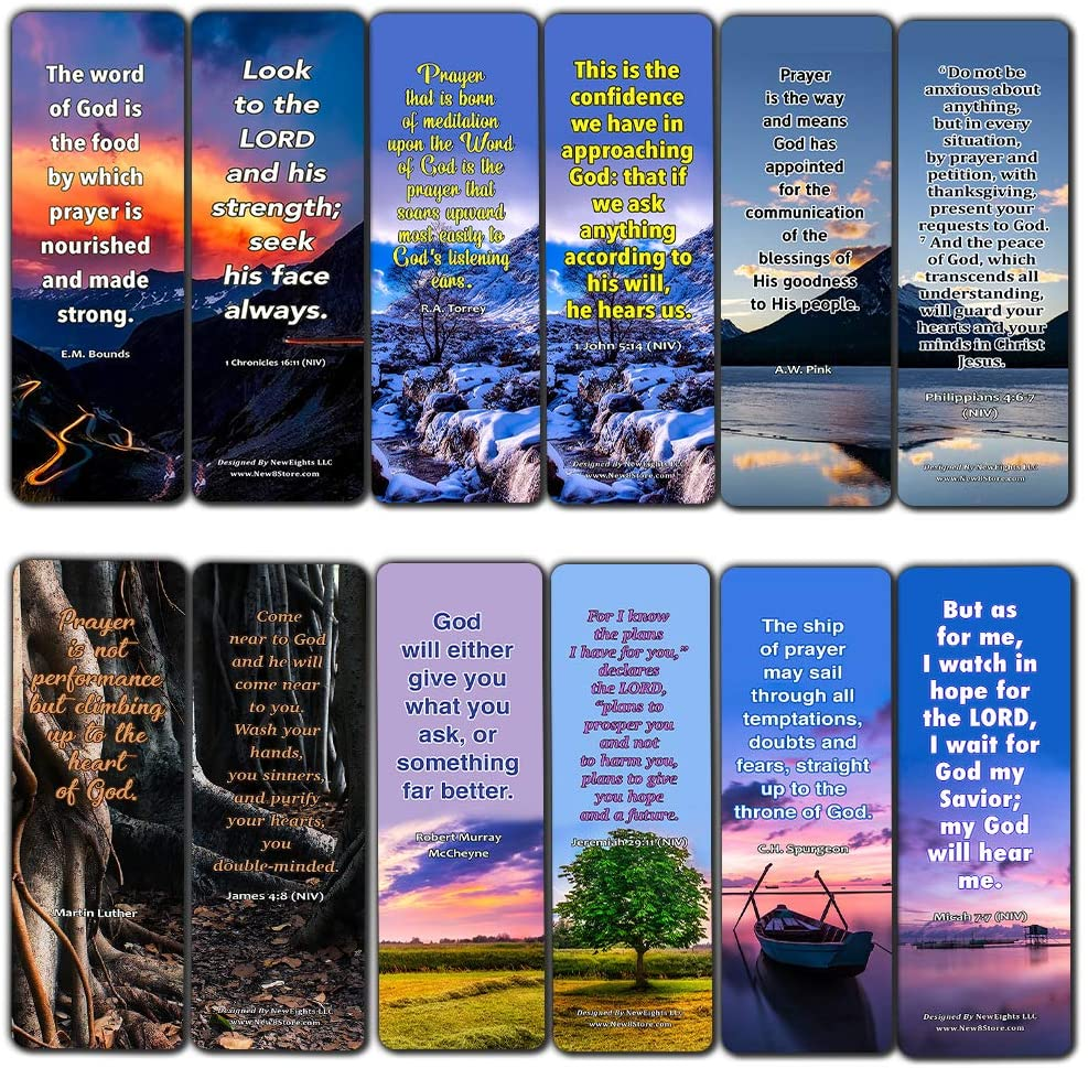Prayer Quotes Bookmarks (30 Pack) - Handy Sample Prayer Quotes Perfect For Any Occasion