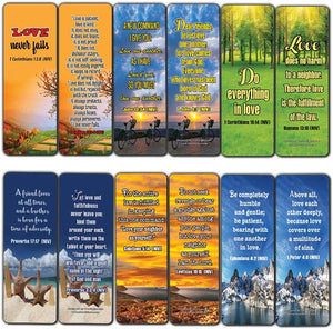 Christian Bookmarks Cards (60-Pack)- Love One Another Bible Verses Quotes - Great Stocking Stuffers Gifts for Men Women - Church Supplies for Ministry Bulletin Cell Group Baptism Evangelism Christmas