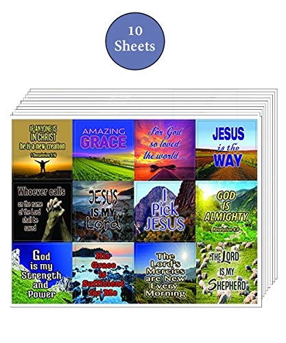 Christian Bible Verses Scriptures Quotes Stickers (10 Sheets) – Great gift give away for Journal Planner Sticky Notes Scrapbooking (Almighty God)