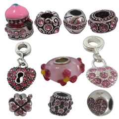 Chicky Pink Rhinestones N8 European Style Beads Charms for Bracelet Necklace Fit Pandora