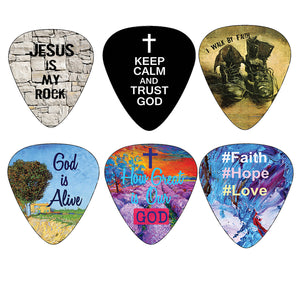 Guitar Picks With Inspirational Messages from Bible Christianity