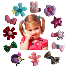 Charis Kid Hair Clips for Baby Toddlers Girls - Barrettes Assorted Cute Flowery Ribbon Bows Style B-Series