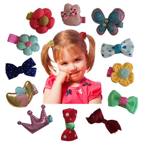 Charis Kid Hair Clips Barrettes Assorted Ribbon Bows Style C Series - 12 pcs of Uniquely Designed For Baby, Toddler, and Young Girls