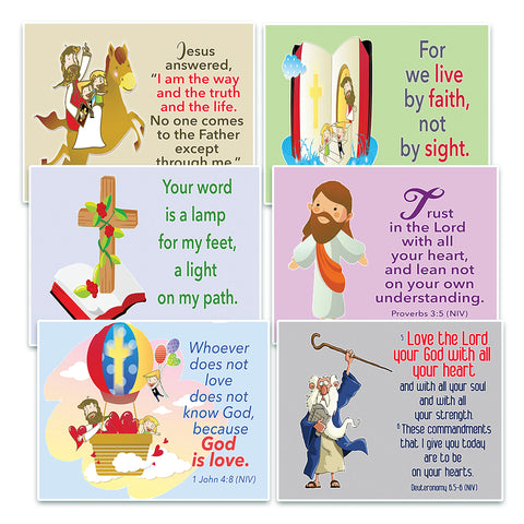 NewEights Christian Postcards Cards for Kids - God Is Love Theme (60 Pack) - Great Reminder for Everyone About God Is Love