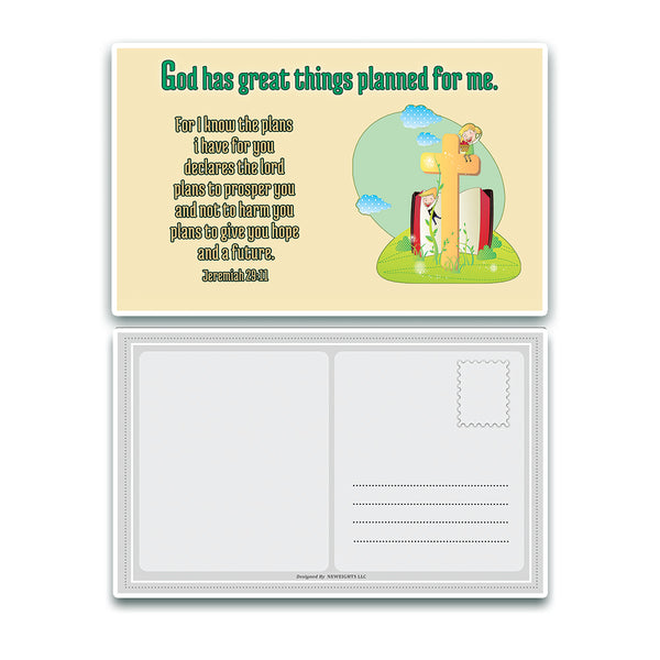 NewEights Christian Postcards for Kids (12 Pack) - Great Variety Postcards with Motivational Scriptures