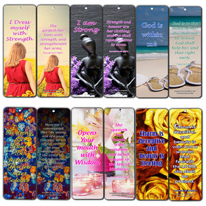 Feminine Strength Scripture Bookmarks (60 Pack) - Perfect Giveaways for Sunday School and Ministries Designed to Inspire Women