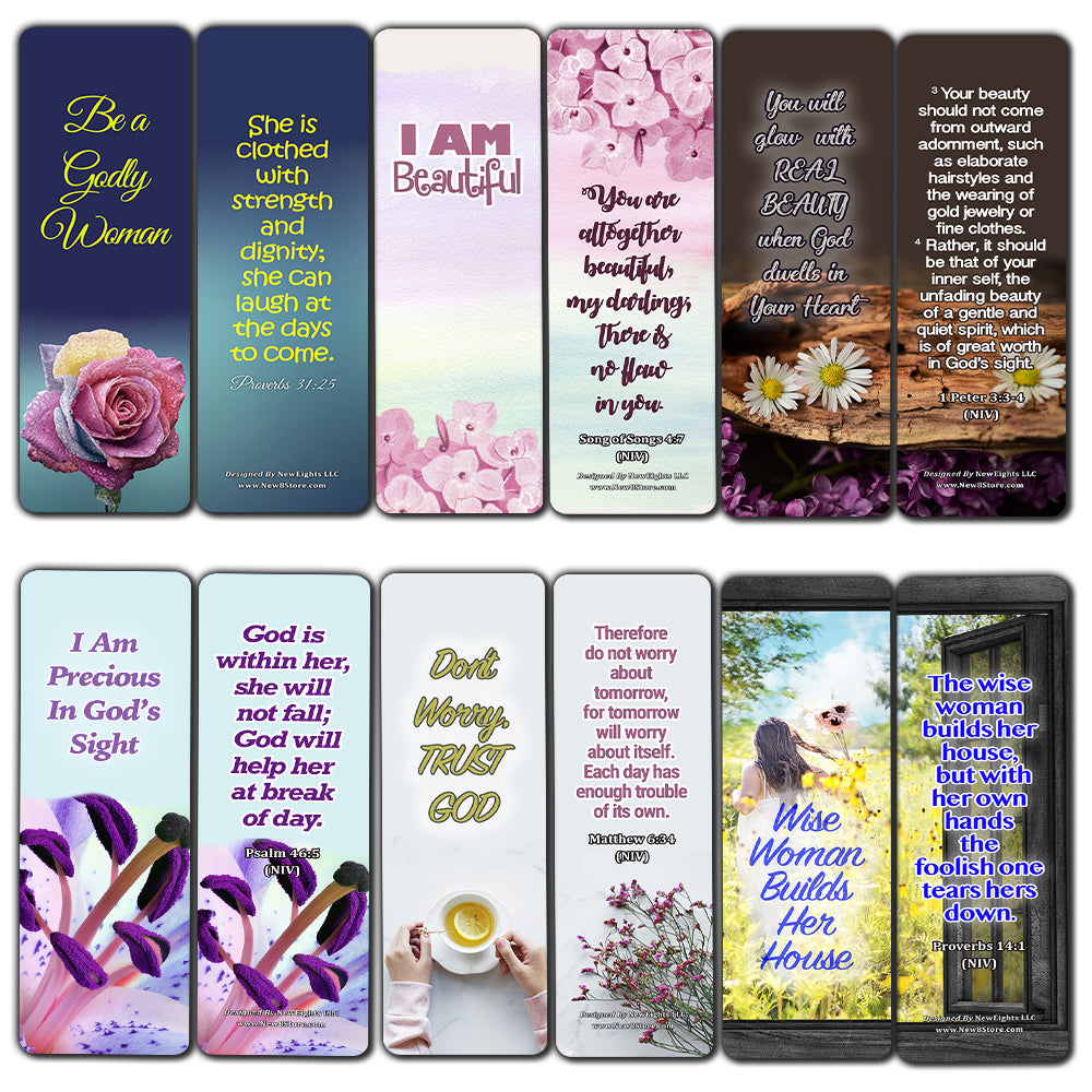 Devotional Bible Verses for Women Bookmarks (60 Pack) - Perfect Giveaways for Sunday School and Ministries Designed to Inspire Women