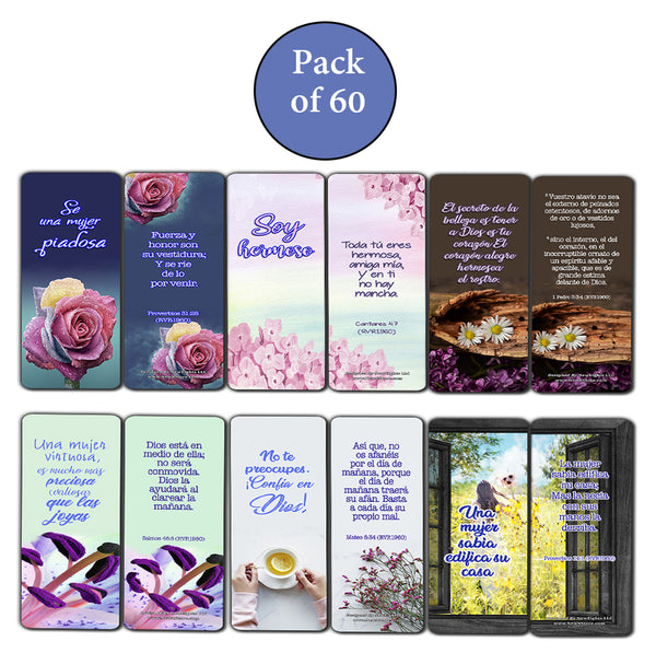 Spanish Devotional Bible Verses for Women Bookmarks (60 Pack) - Perfect Giveaways for Sunday School and Ministries Designed to Inspire Women