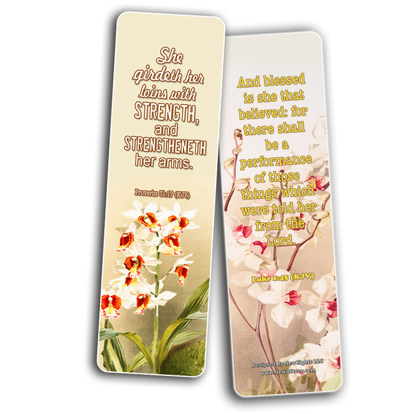 Religious Empowering Bible Verses Flowers Bookmarks for Women (60 Pack) - Perfect Giveaways for Sunday School and Ministries Designed to Inspire Women