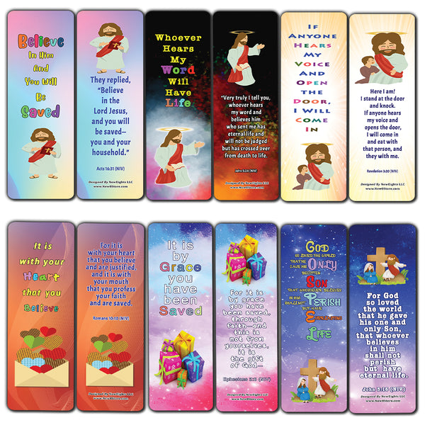 Salvation Gospel Bible Verses Bookmarks for Kids (30-Pack) - Daily Memory Verses For Children