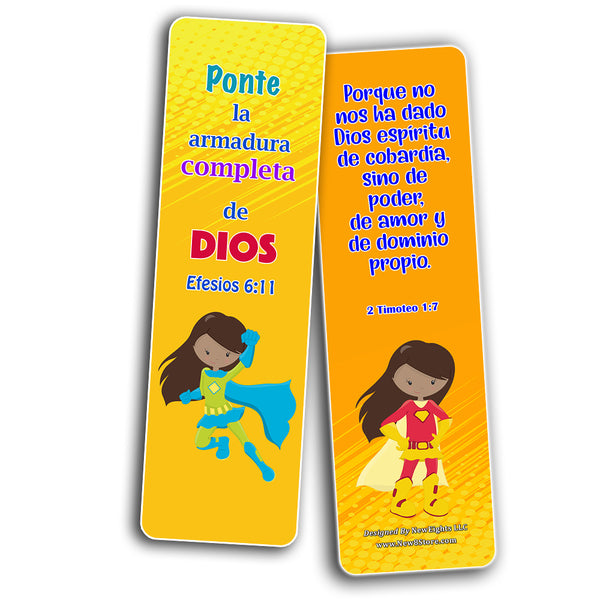 Spanish Religious Bookmarks for Kids - Super Hero (30 Pack) - Well Designed Hero Bookmarks for Kids with Easy To Memorize Bible Verses