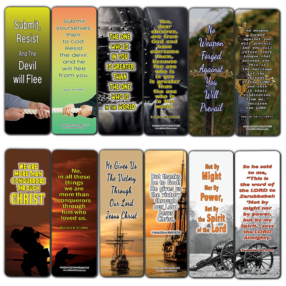 Spiritual Warfare Scriptures: Help for Facing Life's Battles Bible Bookmarks (60-Pack) - Perfect Giftaway for Sunday School and Ministries - Reverence Bible Texts VBS Sunday School Easter Baptism Gift