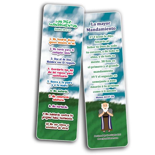 Spanish 10 Commandments Bookmarks Cards