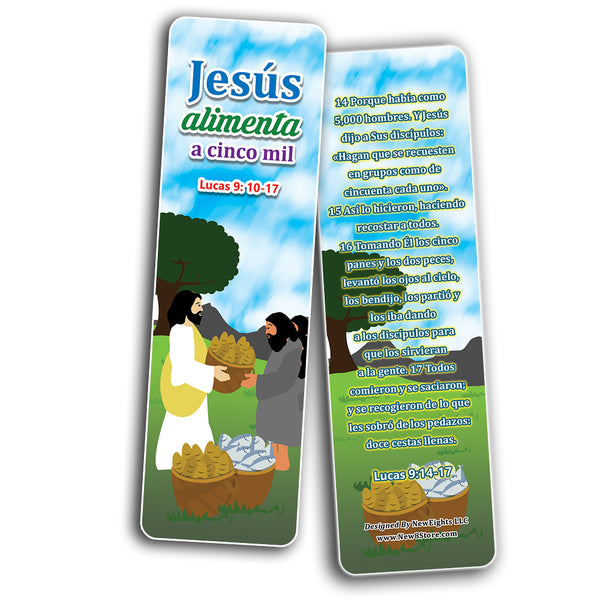 Spanish Miracles of Jesus Bible Bookmarks Cards