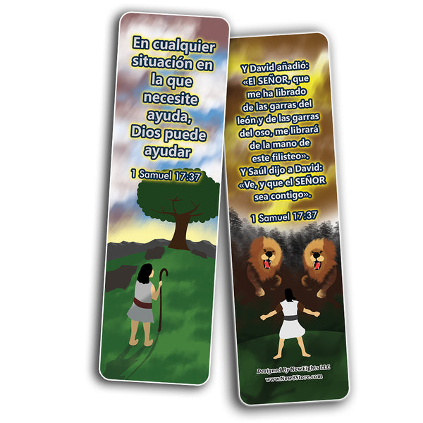 Spanish David and Goliath Religious Bible Bookmarks Cards