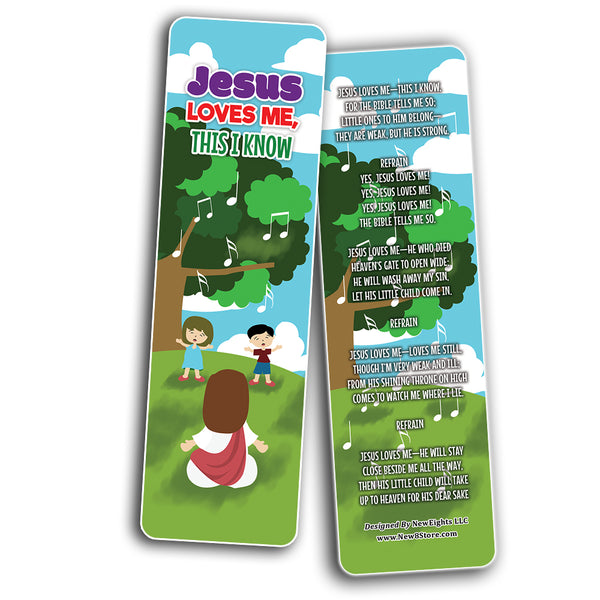 Jesus Loves Me, This I Know Bookmarks (30-Pack) - Stocking Stuffers for Boys Girls - Children Ministry Bible Study Church Supplies Teacher Classroom Incentives Gift