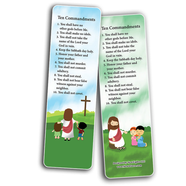 Ten Commandments Bookmarks Cards (30-Pack) - Stocking Stuffers for Boys Girls - Children Ministry Bible Study Church Supplies Teacher Classroom Incentives Gift