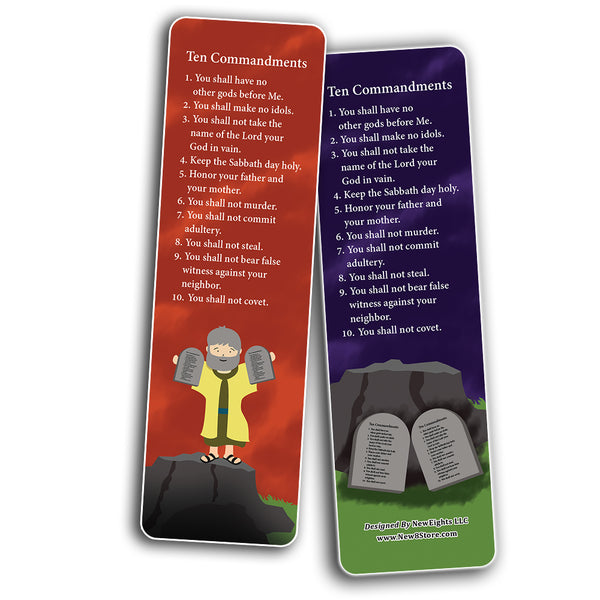 Ten Commandments Bookmarks Cards (60-Pack) - Church Memory Verse Sunday School Rewards - Christian Stocking Stuffers Birthday Party Favors Assorted Bulk Pack
