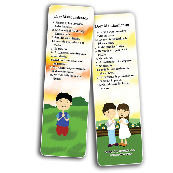 Spanish Ten Commandments Bookmarks Cards (60-Pack) - Church Memory Verse Sunday School Rewards - Christian Stocking Stuffers Birthday Party Favors Assorted Bulk Pack