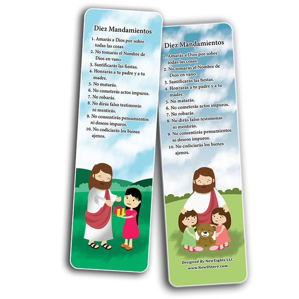 Spanish Ten Commandments Bookmarks Cards (12-Pack)
